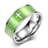 Western Popular English Cross Shape Stainless Steel Green Men Ring