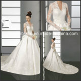 Full Sleeves Kate Wedding Dress V-Neck Lace Sleeves Bridal Wedding Gown W15243