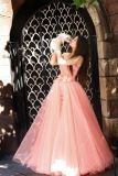 2014 Enchanting Lace Detachable Skirt Two Piece Puffy Evening Gown Prom Dresses (CL46)
