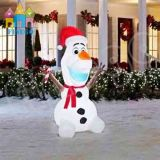 China Customized Happy Inflatable Christmas Snowman with Santa Hat