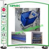 180 Litres Supermarket Plastic Shopping Cart with Plastic Basket