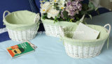 Customized Handmade Handled Wicker Storage Basket for Indoor Usage