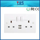 2016 New Design British Standard Double 13A Wall Switched Socket