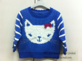Kid′s Knitted Sweater - Girls Intarsia Cat Jumper