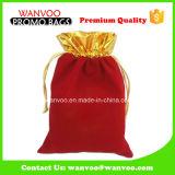 China Manufacturer Drawstring Velvet Red Makeup Bags for Travel