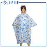 Non-Disposable Clear Custom Printed PVC Rain Poncho