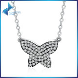 925 Sterling Silver Dancing Butterfly Clear CZ Pendants Necklace Silver Jewellery