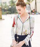 Spring Printed Charming Pattern V-Neck Women′s Shirt