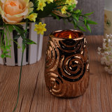 Brass Ceramic Candle Holder with Flower
