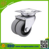 Light Duty Double Wheel Soft Rubber Furniture Caster