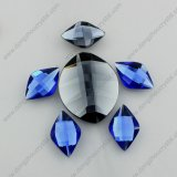 Leaf Shape 20mm Flat Back Glass Rhinestones with Silver Foiled