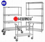 Multi-Purpose Adjustable 4 Layers Chrome Metal Movable Storage Shelf System