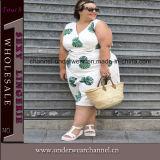 Deep V-Neck Women Plus Size Casual Dress (TMKF493)