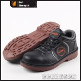 Black Action Leather Safety Shoe with PU Injection (SN5151)