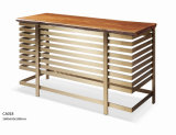 Modern Designs Golden Stainless Steel Solid Wenge Wood Bar Table (BT-002)