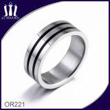 Two Circle Black Enamel Ring