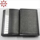 Fashion Black Leather Wrap Metal Card Holder