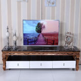 2016 Modern latest Brushed Rose Golden Stainless Steel TV Stand with Drawer
