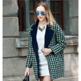 Long Plaid Wool Woolen Cloth Coat for Woman′s Clothes