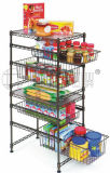 Powder Coating DIY Metal Home Storage Shelf with Basket (LD452090C5E)