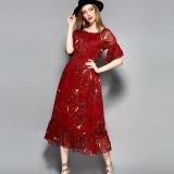 Red Floral Print Elastic Waist Long Dress for Women
