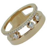 18k Yellow Gold Micro Setting Jewelry Move Rings