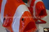 White and Red Stripe Fish Murano Glass Crafts