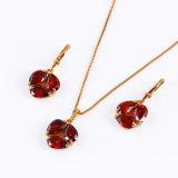 Xuping Newest 18k Gold Red Stone Women Jewelry Set (61251)