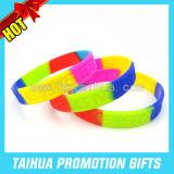 High Quality Segmented Wristband Rainbow Silicone Bracelet (TH-08506)