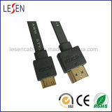 Flat HDMI Cable with Ethernet, Am to Mini Male Plug