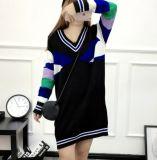 Loose Large Color Stripe Large V-Neck Knitted Long Sweater (BTQ230)
