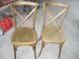 Vintage Oak Wood Cross Back Chair