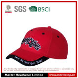 100% Cotton Red Baseball Cap with 3D Embroidery