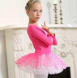 Rose Red Ballet Children Dance Costumes Bitter Fleabane Skirt Short Sleeve of Shirt