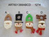 "12""H Santa Snowman Moose Doorknob Hanger-4asst-Christmas Decoration"