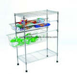 Multi-Functional Adjustable Chrome Fruit and Vegetable Storage Trolley Rack (CJ-C1116)