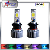 RGB LED Car Headlights 40W Bluetooth Control 4000lm Auto Lamp