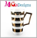 Gold Cross Tripe Charming Unadorned Ceramic Travel Mug