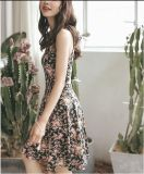 Summer Floral Printed Sleeveless Slim Girl′s Dress