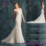 Popular Design Effect of Creating a Tattoo on Tulle and Embroidery Patterns Mermaid Wedding Dress with Chapel Train