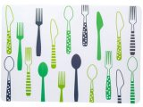 Table Placemat Knives Forks Print Heat-Resistant Washable Plastic Table Mats
