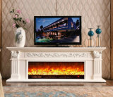 White sculpture European Heating Electrical Fireplace with TV Stand (321S)