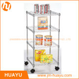 Household 4 Tier Chrome Roller Wire Shelving Wire Cart