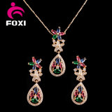 Cubic Zirconia Gold Plated Brass Dubai Gold Plated Jewelry Sets