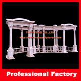 Stone Marble Garden Decoration Gazebo with Casting Iron Top