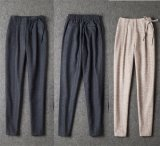 2015 Autumn Winter Unique Design Women Leisure Elastic Waist Trouser Pencil Pants
