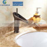 Engraved Satin Colored Single Hole Brass Basin Tap Deck Mounted