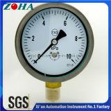 Stainless Steel Case Micro Pressure Gauge Meter with Brass Socket
