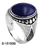 Latest Design 925 Sterling Silver Enamel Man Ring with CZ.