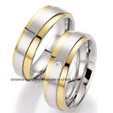 Europe High Polish White and Gold Wedding Ring